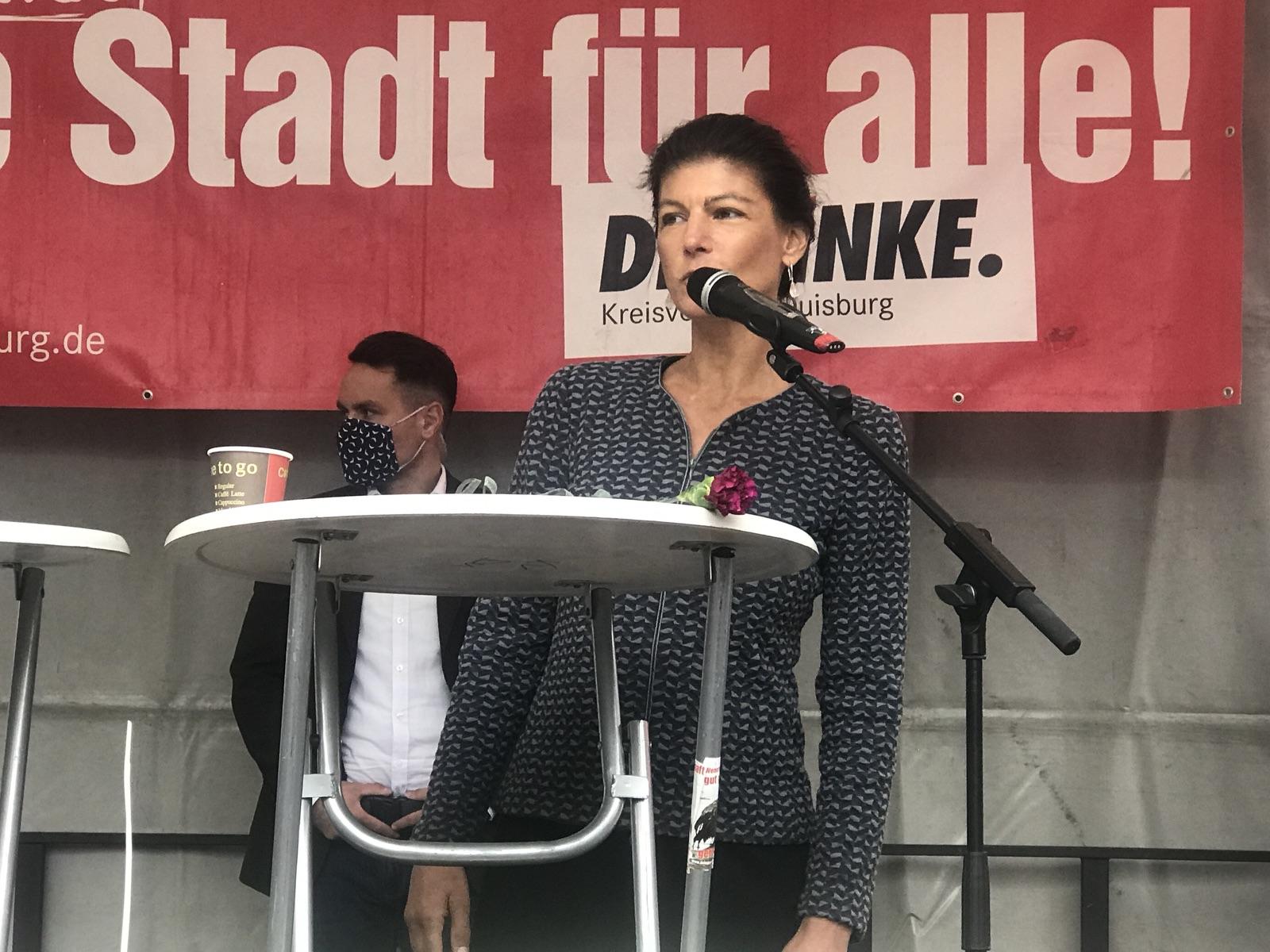 Sahra Wagenknecht (DIE LINKE) in Duisburg; Foto: Peter Ansmann